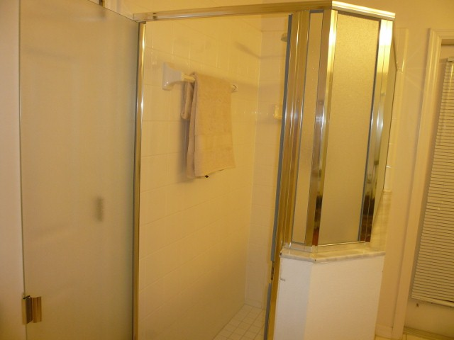 Master bath also contains a large shower unit.